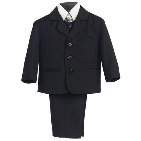 Boys Black Wedding 5 Pcs Special Occasion Suit 10 Husky