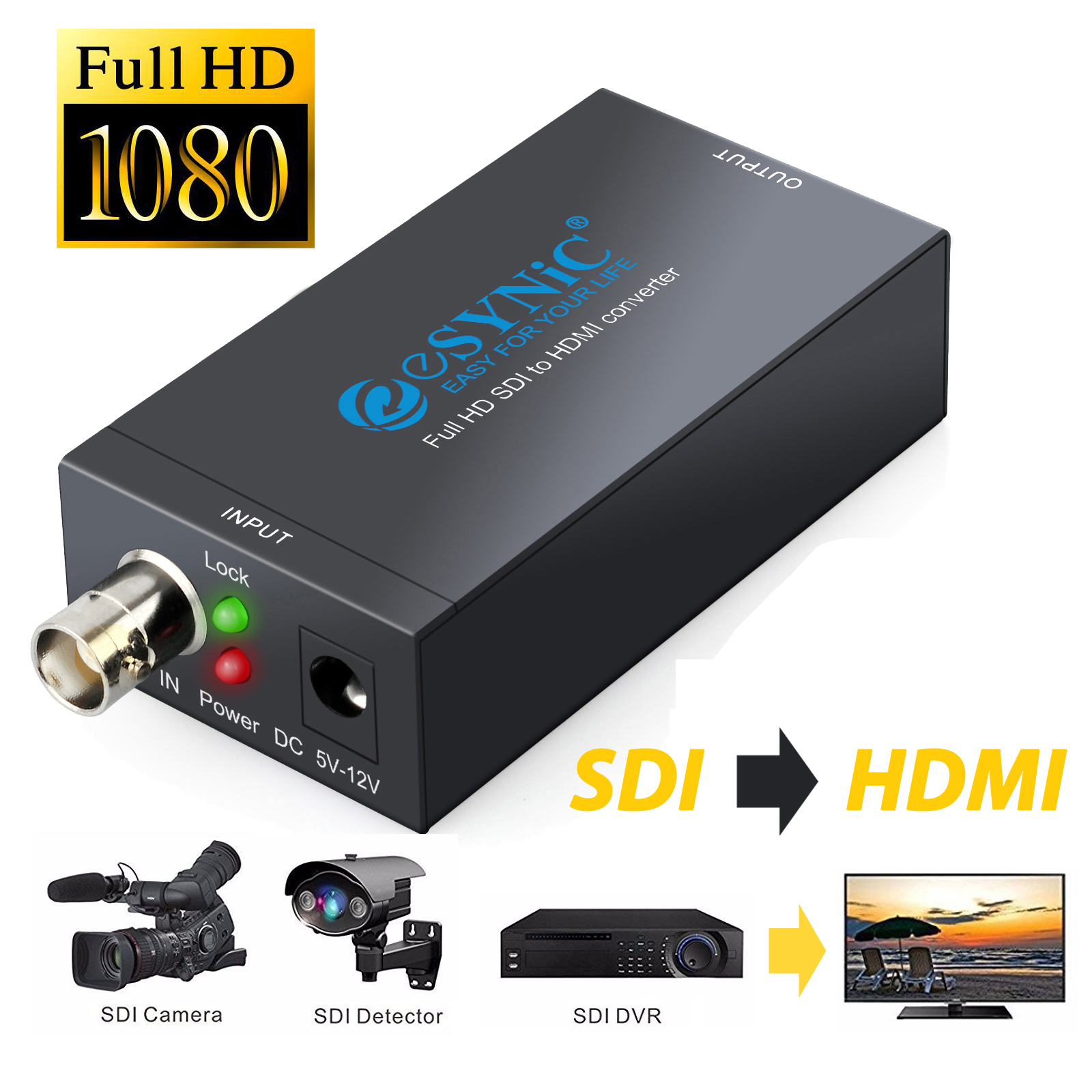 ESYNIC SDI to HDMI Converter Mini High definition-SDI SD-SDI 3G-SDI to HDMI Online video Adapter Converter Box 1080P BNC Port SDI to HDMI Movie Audio Converter for SDI Digicam HDTV Projector