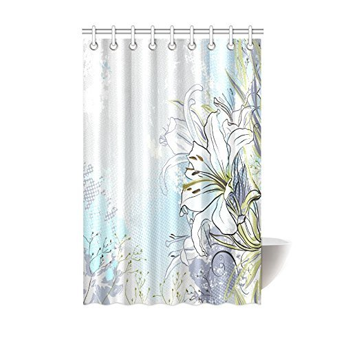 GCKG White Lily Flower Shower Curtain Decor Lilies Flowers Paisley Modern Abstract Picture Design Polyester Fabric Bathroom 48x72 Inches