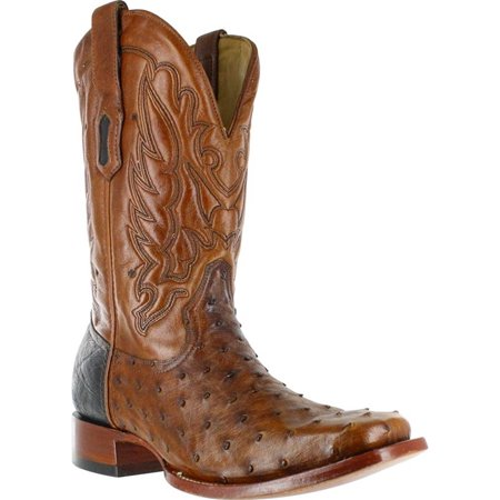 CORRAL Men's Cango Tobacco Full Quill Ostrich with Black Shoulder Counter Square Toe Cowboy Boots A2633 (11.5 D(M) US)