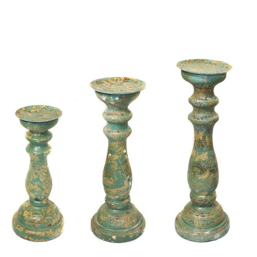 EC World Imports 3 Piece Sicily Distressed Wood Pillar Candle Holders Set