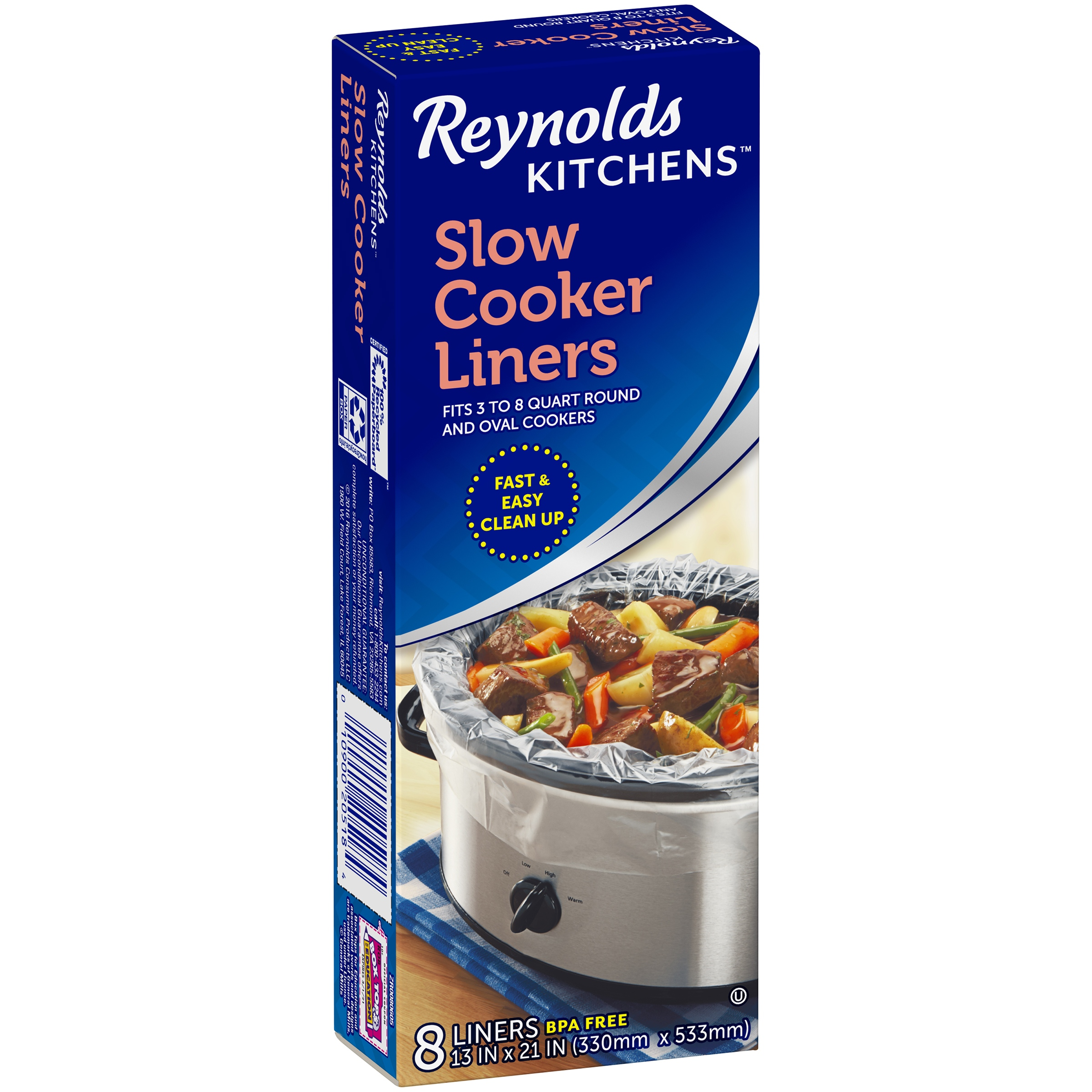 2 Pack Reynolds Kitchens Slow Cooker Liners 8 Ct Box