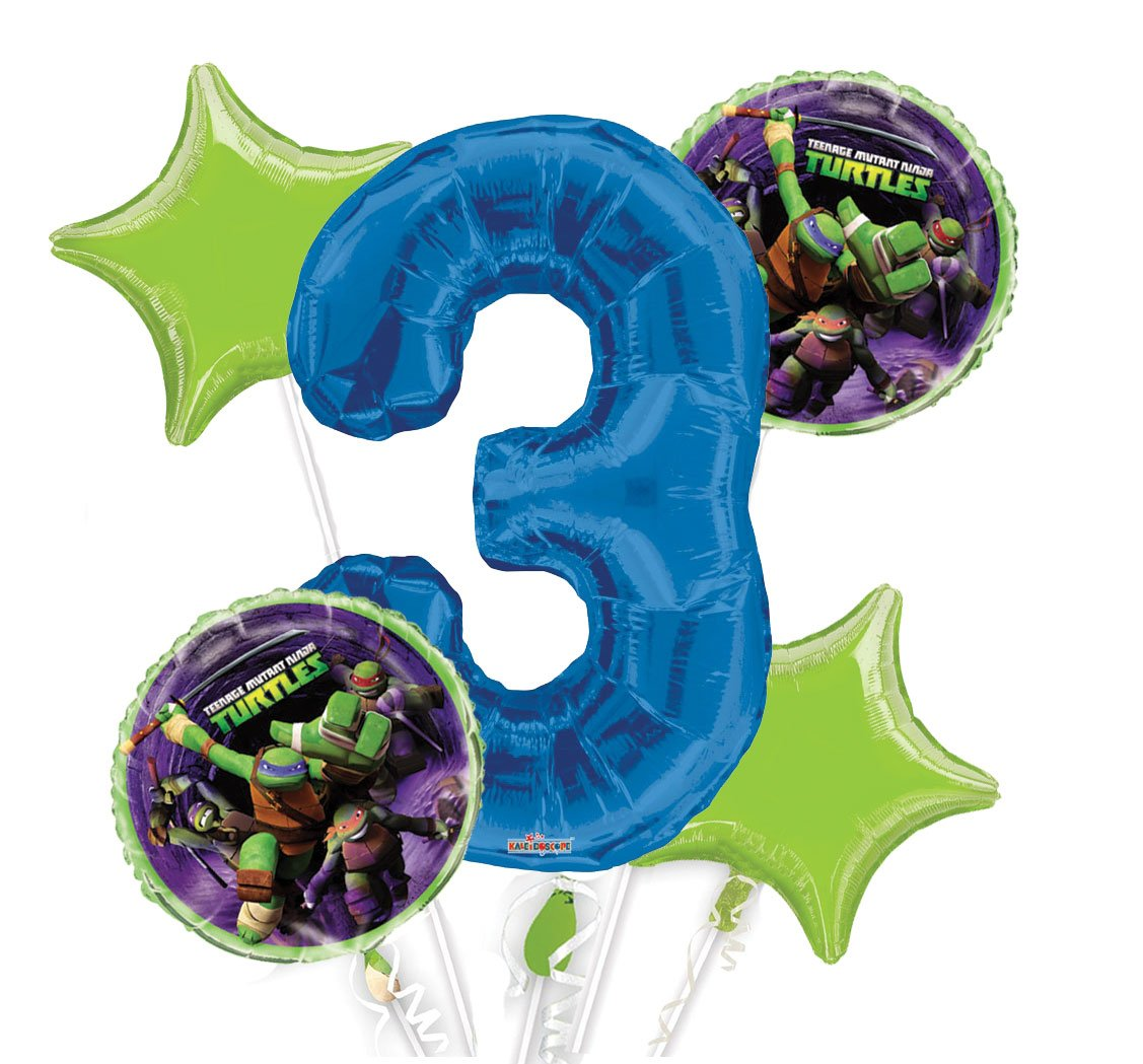 Ninja Turtles Balloon Bouquet 3rd Birthday 5 pcs - Party Supplies, 1 Giant Number 3 Balloon, 34in By Viva Party