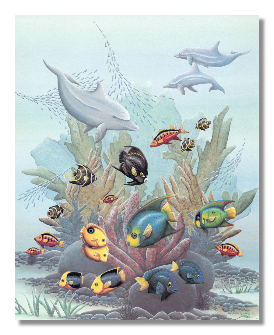 Tropical Striped Blue and Yellow Ocean Fish Reef Wall Picture 8x10 Art Print
