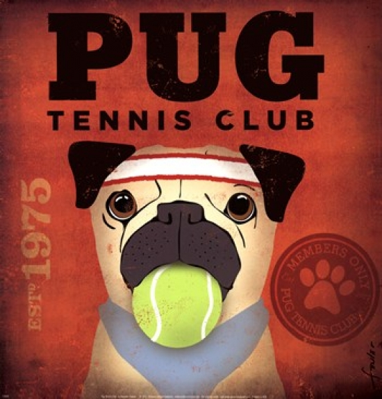 Pug Tennis Club Poster Print by Stephen Fowler (12 x 13)