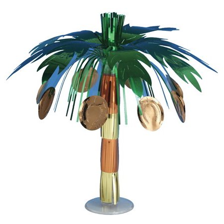 Club Pack of 12 Metallic Coconut Tree Mini Foil Luau Party Centerpieces 10.5""
