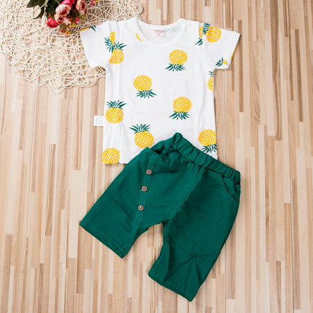 Kids Boy Summer Outfit Pineapple Print Short Sleeve T-Shirt Shorts Casual Clothes Set - Summer Short Outfits