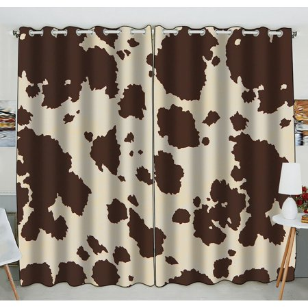 GCKG Vintage Big Cow Bull Fur Animal Blackout Curtains Window treatment Panel Drapes 52(W) x 84(H) inches (Two Piece) (Chicago Bulls Drapes)