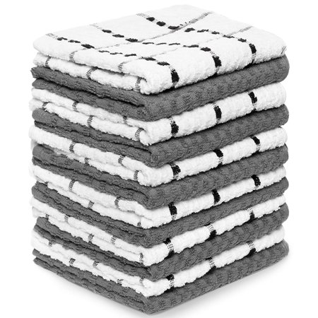 Waffle Weave Dish Towel (Zeppoli Kitchen Towels, 12 Pack - 100% Soft Cotton -15