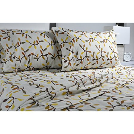 Highland Flat Sheet - Highland Collection Printed 300 Thread Count  Cotton Rich sheet set Full Almond Leaves