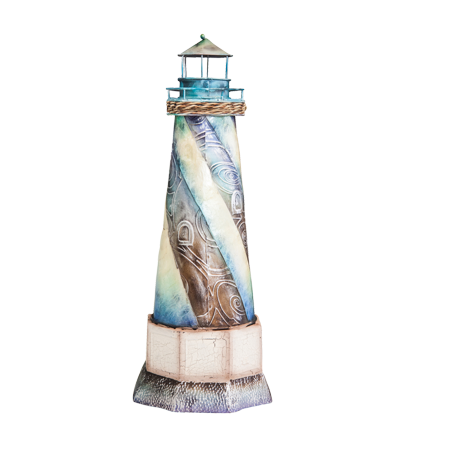 Metal and Capiz Lighthouse Sculpture Figurine / Table Top Centerpiece 16