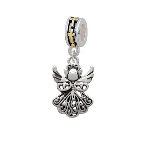 Angel - Gold Tone Cross Charm Bead