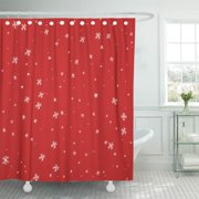 CYNLON Blue Falling Snow White Snowflakes on Red Winter Snowfall Flat Bathroom Decor Bath Shower Curtain 66x72 inch