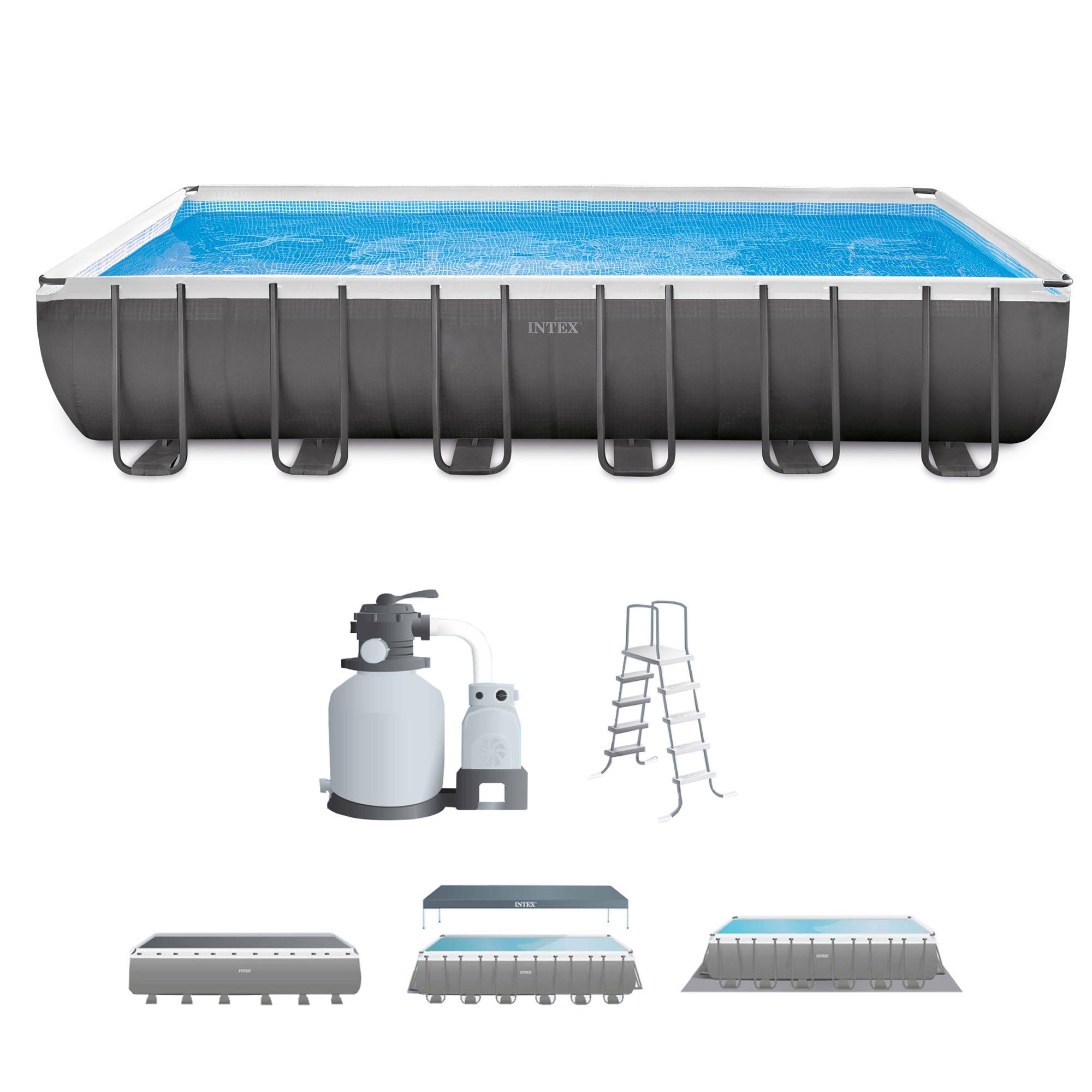 "Click here to buy Intex 24' x 12' x 52"" Ultra Frame Rectangular Above Ground Swimming Pool Set by Intex."