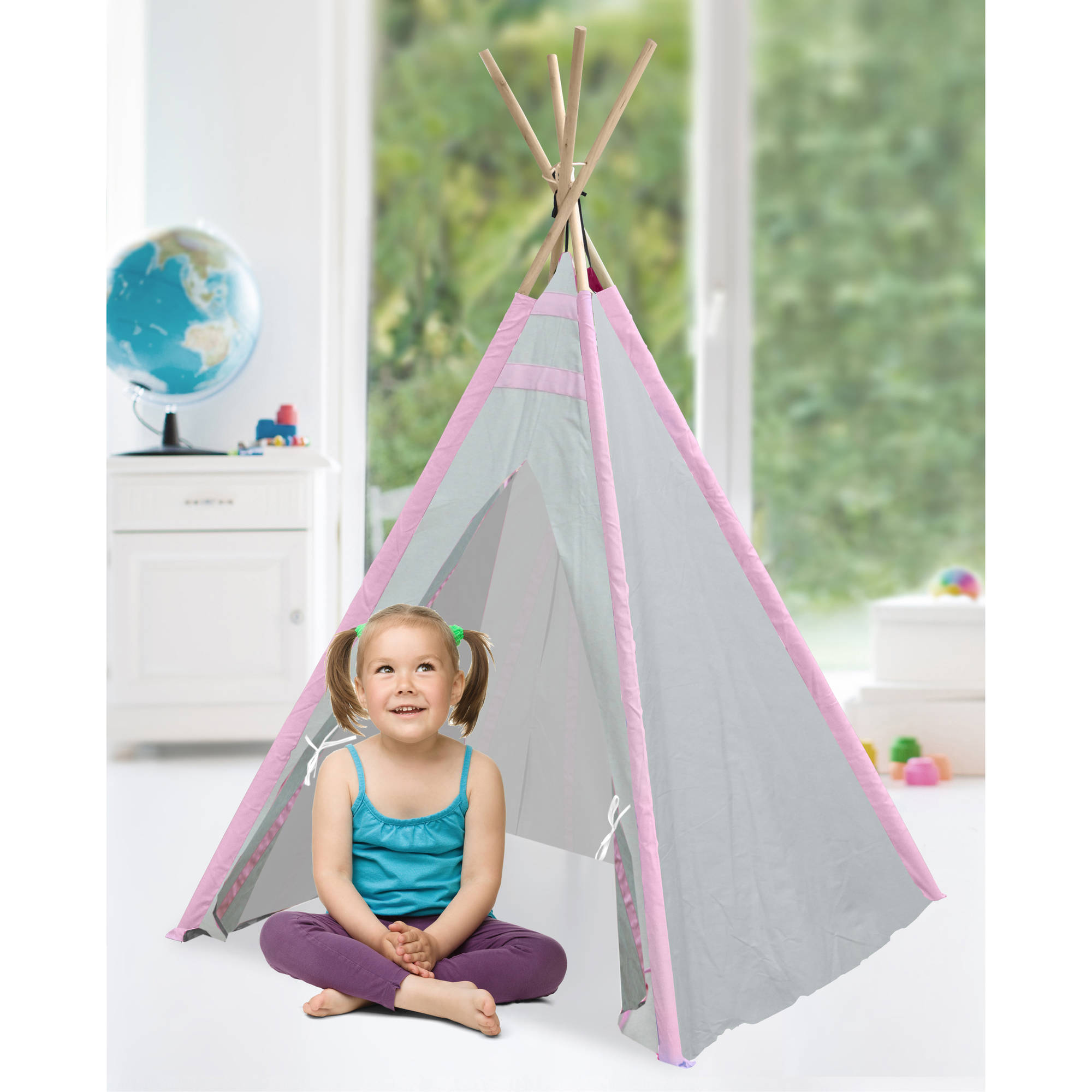 American Kids Tee-Pee Play Tent, Pink/Taupe