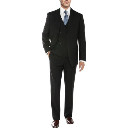 Salvatore Exte Men's Vested Suit 3 Piece 2 Button Blazer Vest Flat Front Pants (Best 3 Piece Suits For Men)