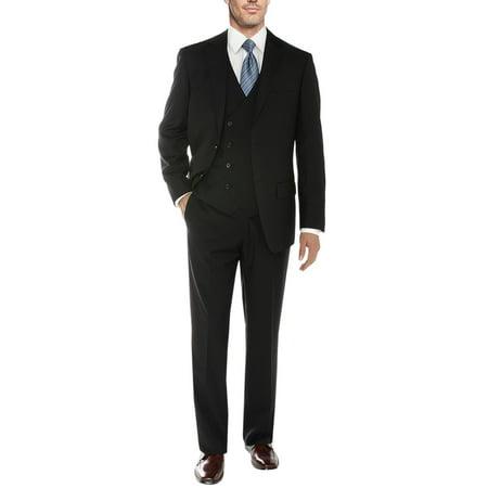 Salvatore Exte Men's Vested Suit 3 Piece 2 Button Blazer Vest Flat Front Pants Black