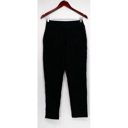 Contour Pocket - Denim & Co. Petite Pants XXSP French Terry Contour Waist + Pockets Black A277398