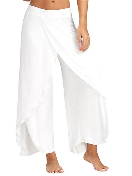 Double Layers Chiffon Pants Summer Women Split Flared Trousers