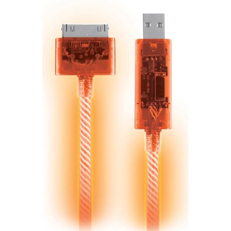 Orange Visible Flowing Led 30 Pin Usb Data Sync Charging Cable For Apple Iphone 4 4Th