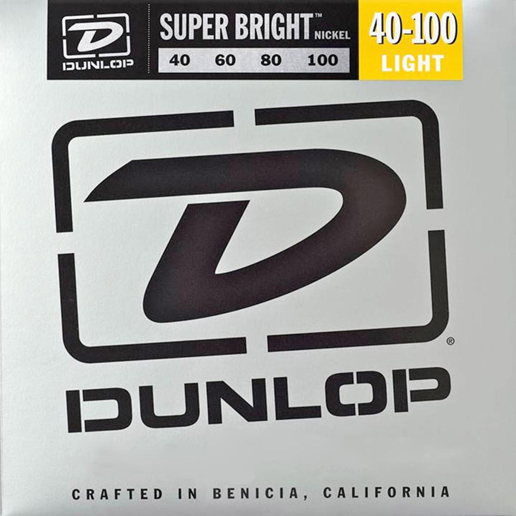 Dunlop DBSBN40100 Super Bright Nickel-Plated Steel Bass 4 String Set, .40-.100