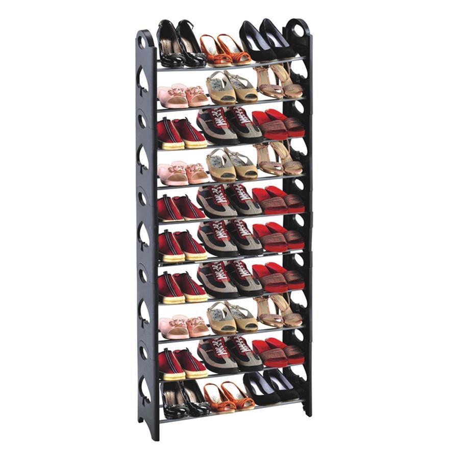 50-Pair Shoe Rack Storage Organizer, 10-Tier Portable Wardrobe Closet Bench Tower Stackable, Adjustable Shelf - Strong Sturdy Space Saver Wont Weaken or Collapse - Black by OxGord