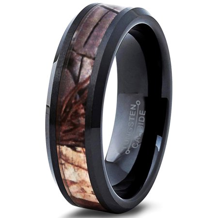 Ceramic Ring 6mm for Men Women Black Hunter Deer Army Ceramic Band Comfort Fit Camo Beveled Edge Brushed Polished Lifetime Guarantee