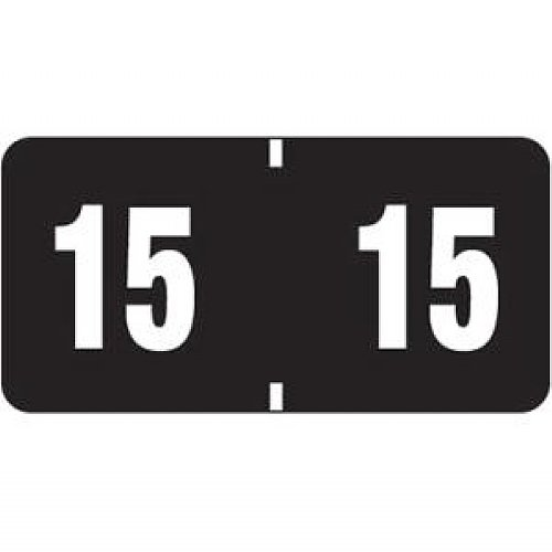 """Smead 68315 Black Etyj Color-coded Year Labels - 2015 - 1.50"""" Width X 0.75"""" Length - 1 / Box - Rectangle - 500/roll - Black"""