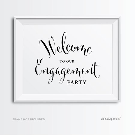 Welcome To Our Engagement Party Formal Black & White Wedding Party Signs