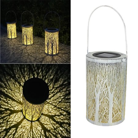 LED Solar Lantern Cylindrical Forest Hanging Solar Light Waterproof Lanscape Lamp for Patio Courtyard Garden ()