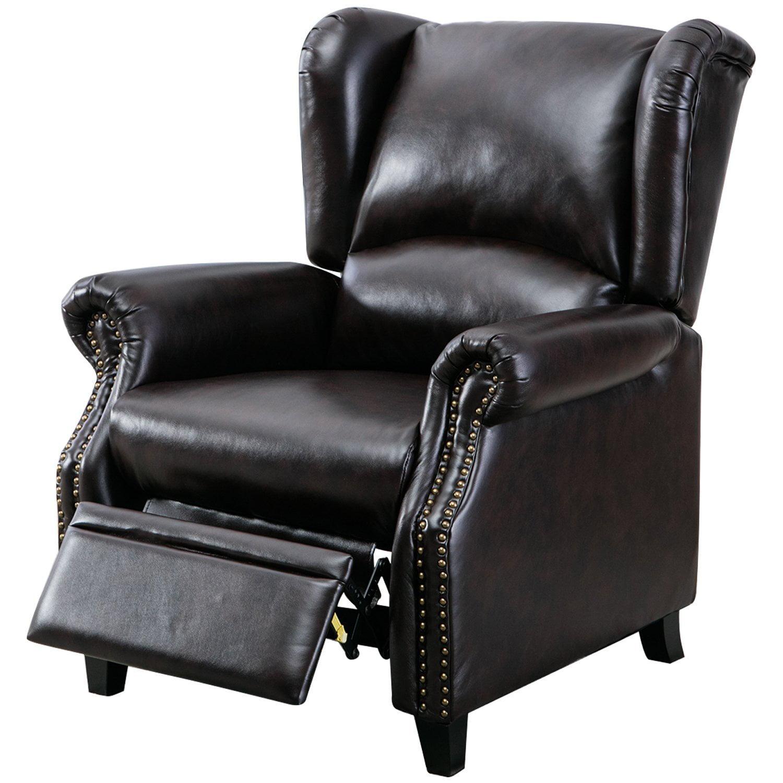 BONZY Manual Recliner Modern Wingback Pushback Chair - Dark Brown
