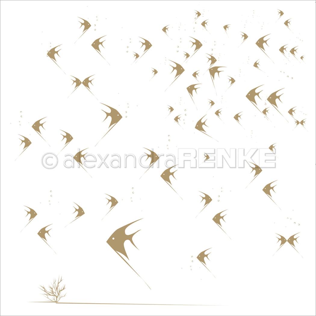 "Alexandra Renke Under The Water Design Paper 12""X12""-Fishbowl Gold"