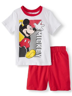 Mickey Mouse Baby Toddler Boy Short Sleeve Graphic T-shirt & Twill Short, 2pc Outfit Set