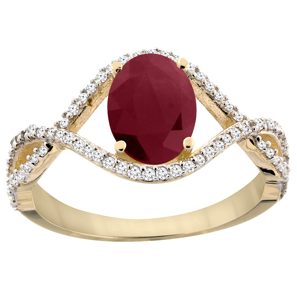 14K Yellow Gold Natural HQ Ruby Ring Oval 8x6 mm Infinity...
