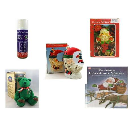 Christmas Fun Gift Bundle [5 Piece] - Buffalo Snow Spray Snow 9 oz. - Vintage Designed Stocking Hanger Santa - A Treasury of Gifts Santa Moon Porcelain Candle Lamp - Limited Treasures  Edition Green
