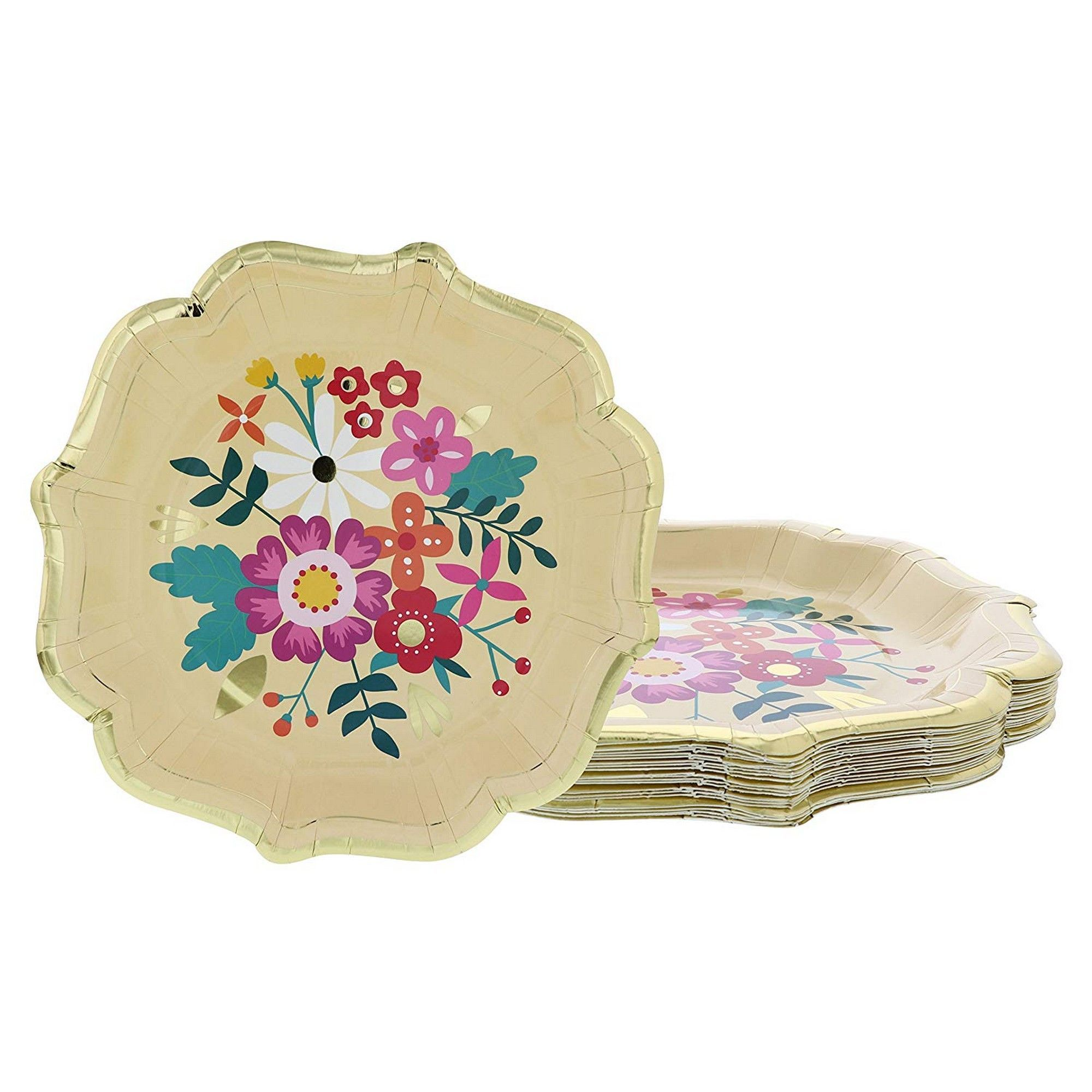 Disposable Plates 24 Count Paper Plates Vintage Floral Party Supplies For Appetizer Lunch Dinner And Dessert Bridal Showers Weddings Gold Foil Scalloped Edge Design 9 2 X 9 2 Inches Walmart Com Walmart Com