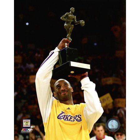 Kobe Bryant with the 2008 NBA MVP Trophy Photo Print