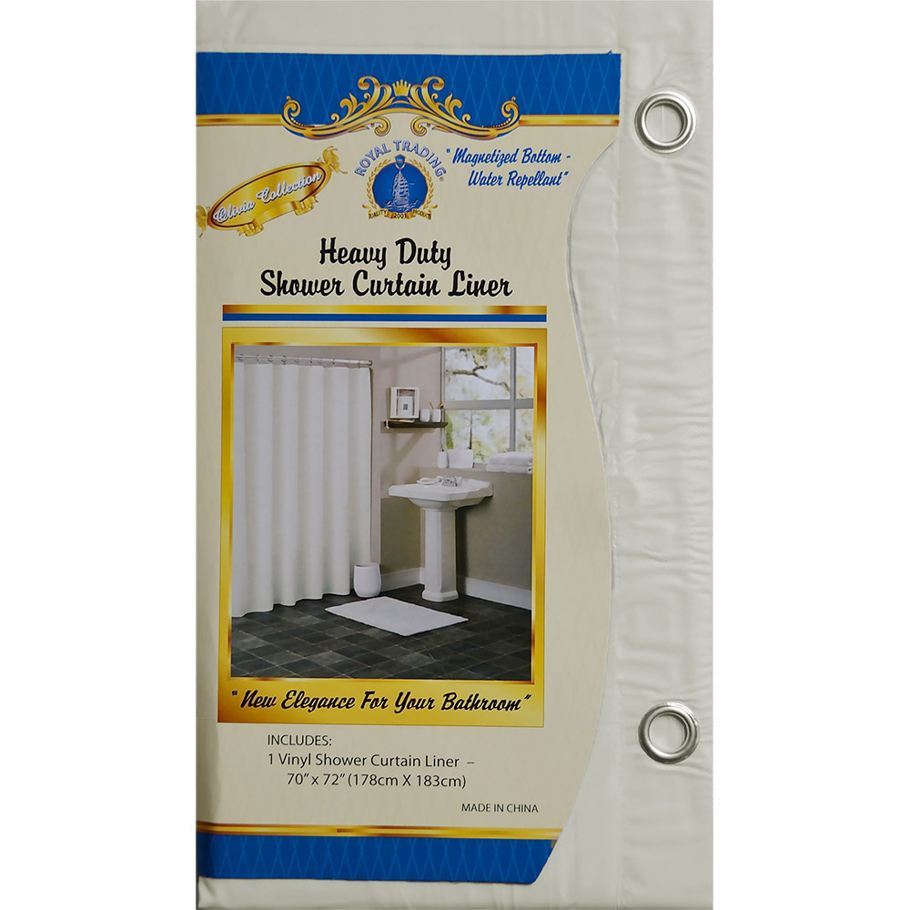 "Beige Vinyl Shower Curtain Liner: Metal Grommets, Magnets, 70""W x 72""L"