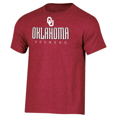 Men's Russell Crimson Oklahoma Sooners Basic Logo Crew Neck T-Shirt](Oklahoma Mayor Husband Halloween)