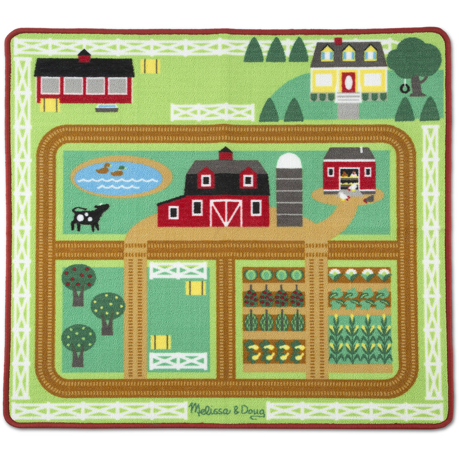 "Melissa and Doug Round the Barnyard Farm Activity Play Rug Wooden Tractor, Trailer, 3 Toy Animals, 39"" x 36"""