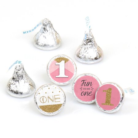 1st Birthday Girl - Fun to be One - First Birthday Party Round Candy Stickers - Labels Fit Hershey's Kisses -108 Ct - First Birthday Party Ideas Girl