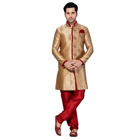 Brown Ghicha Silk Indian Wedding Indo-Western Sherwani For Men. This product is custom made to order. - image 2 de 2