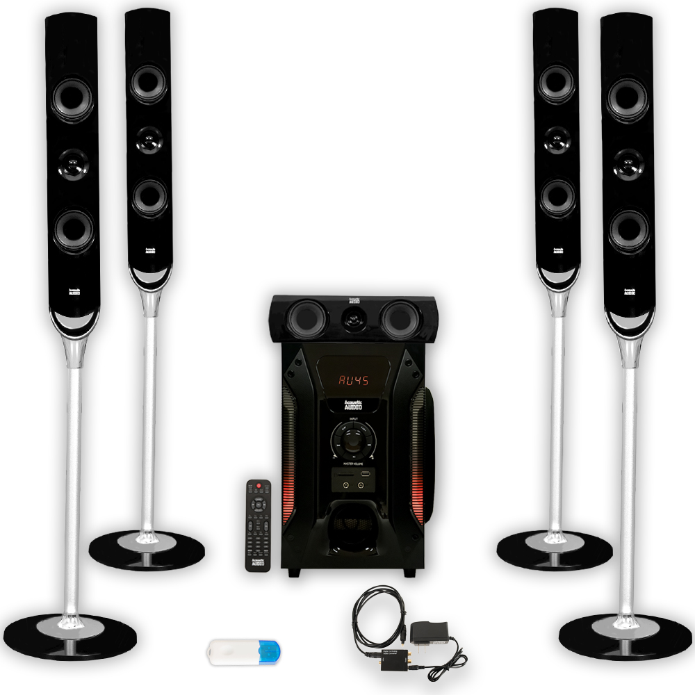 Acoustic Audio AAT1000 Tower 5.1 Home Speaker System with USB Bluetooth and Optical Input