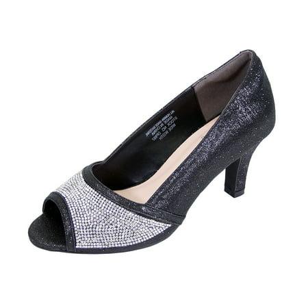 Rhinestone Stripper Heels (FLORAL Noemi Women Extra Wide Width Open-Toe Rhinestone Slip-On Party Heeled Dress Pumps BLACK)