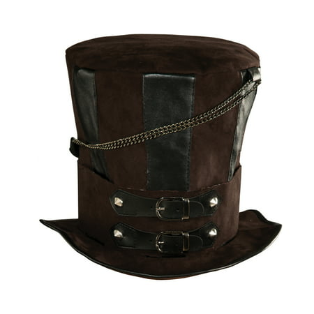 Deluxe Mens Womens Steampunk Brown Costume Chains Buckle Faux Leather Top Hat