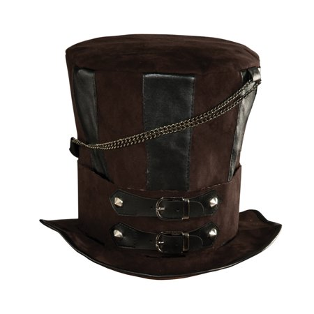 Deluxe Mens Womens Steampunk Brown Costume Chains Buckle Faux Leather Top Hat - Top Hat Costume