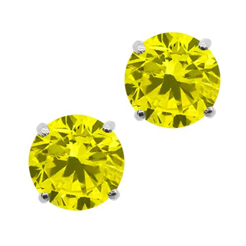 1.60 Ct Round Canary SI1-SI2 Diamond 14K White Gold Stud Earrings