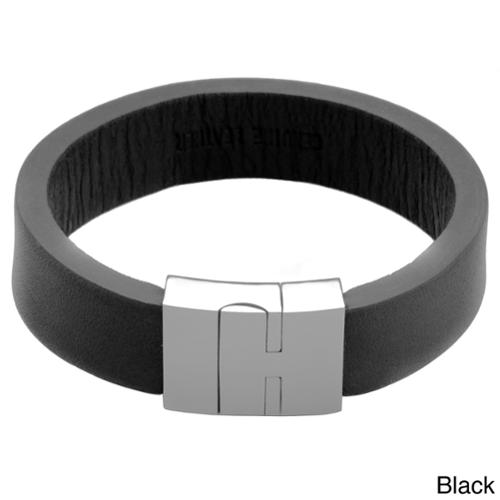 Stainless Steel and Leather Magnetic 8.5-inch Bracelet Black Leather Bracelet with Magnet Lock