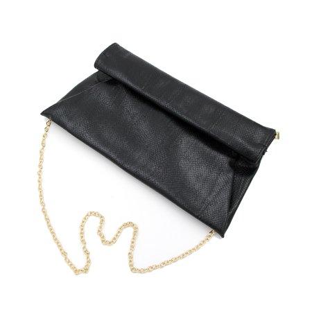 Premium Snakeskin PU Leather Roll Up Flap Clutch Evening Bag