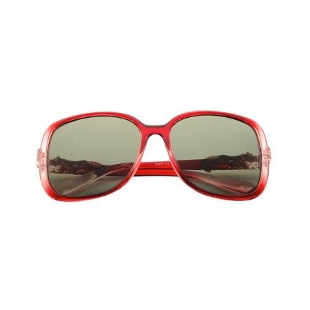 Women Polarized Sunglasses with 57mm Lens Rhinestone Arm 100% UV Protection - Red